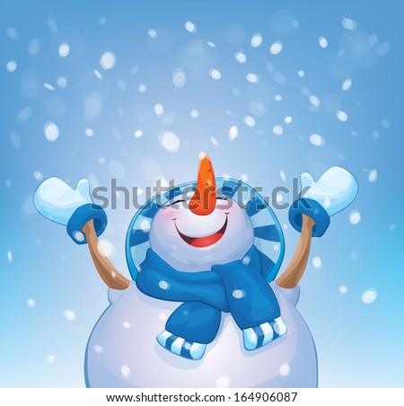 vector happy snowman and