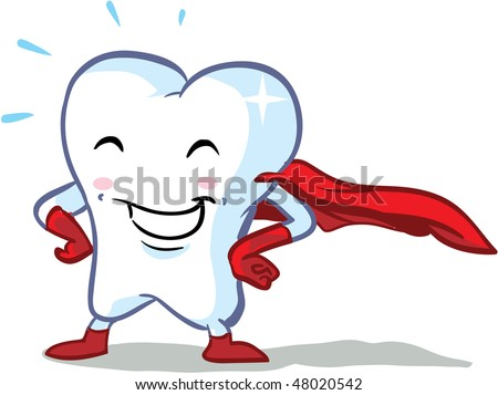 vector happy superhero healthy tooth illustration - part of a series!