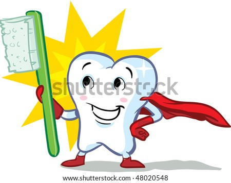 vector happy superhero healthy tooth, with toothbrush illustration - part of a series!
