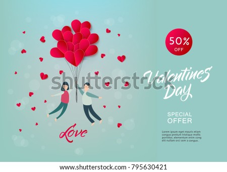 Vector happy valentines day illustration, invitation card, sale poster, party banner template - man and girl couple flying at paper origami hearts - air balloons at green background. #795630421