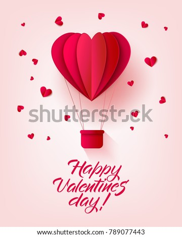 Vector happy valentines day invitation card template with origami paper hot air balloon in heart shape, near small hearts around. Isolated holiday illustration on pink background.