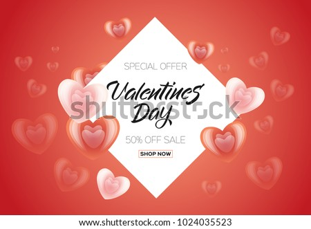 Vector happy valentines day sale poster, banner template with abstract heart icons, love symbols red frame decoration. Romantic holiday advertising design backdrop illustration isolated background. #1024035523