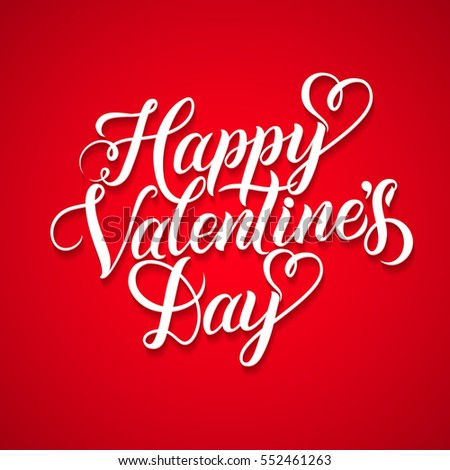 Vector Happy Valentines Day Vintage Card With Lettering. Red Background Poster Template. #552461263