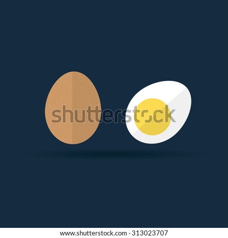 vector hard boiled and raw egg