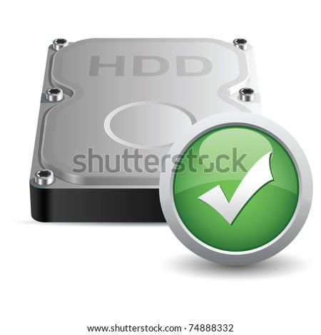 Vector hard disk drive icon with OK sign