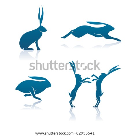 Vector Hare Icons. Includes a sitting hare, leaping hare, running hare, and a pair of boxing hares.