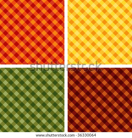 vector - Harvest Hues. Cross weave Gingham Seamless Tiles: Pumpkin, Gold, Russet, Green. EPS8 file includes 4 pattern swatches that will seamlessly fill any shape.