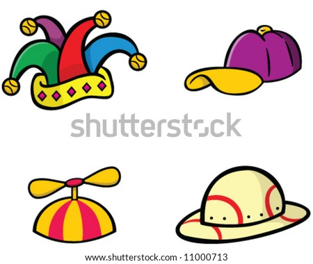 vector hat collection - jester, baseball cap, beanie cap with propeller, and safari helmet