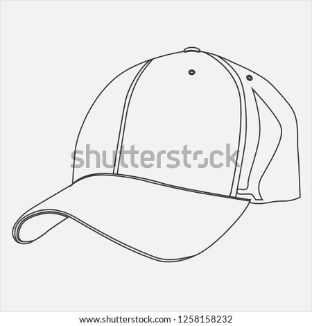 7a7dc96f319 Baseball sport hat in black and white  1140609926 · Vector hat design   1258158232