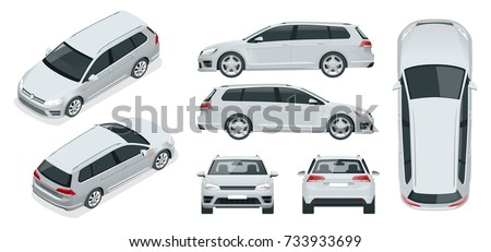 Vector hatchback car. Compact Hybrid Vehicle. Eco-friendly hi-tech auto. Easy color change. Template vector isolated on white View front, rear, side, top and isometric #733933699