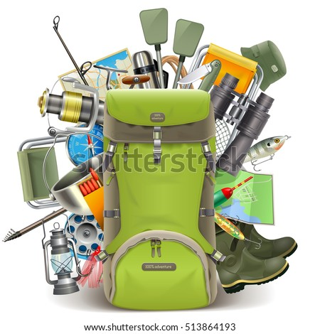 Shutterstock Vector Haversack with Fishing Tackle