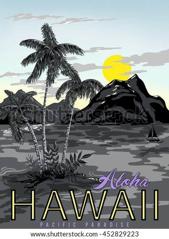 vector hawaii poster with