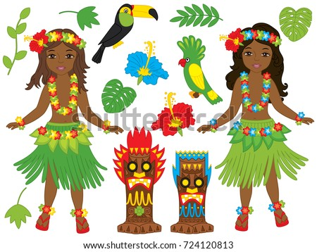 Vector Hawaiian set includes beautiful young girls in traditional Hawaiian costume dancing hula, tiki masks, parrot, toucan, hibiscus, leaves and palm tree. Hawaiian hula dancers vector illustration
