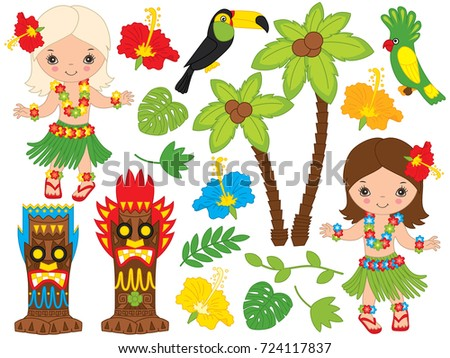 Vector Hawaiian set includes cute little  girls in traditional Hawaiian costume dancing hula, tiki masks, parrot, toucan, hibiscus, leaves and palm tree. Hawaiian hula dancers vector illustration