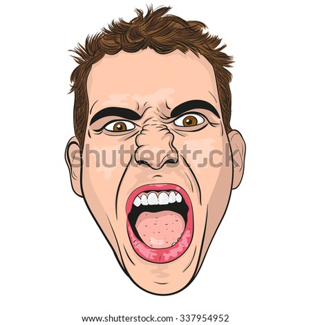 vector head of a screaming