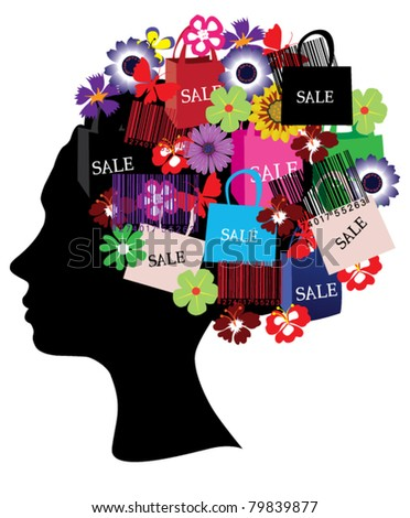 vector head silhouette with shopping bags, flowers and bar codes