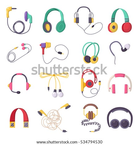 vector headphone icons set on