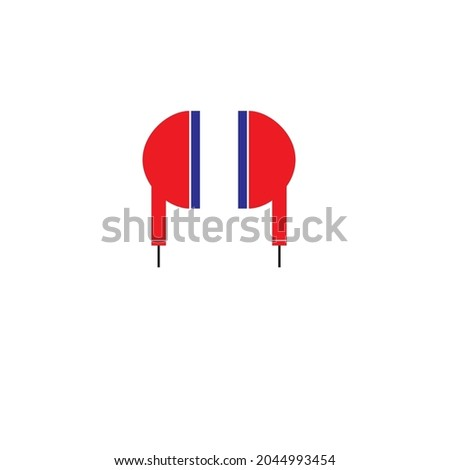 vector headphone logo or flat
