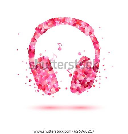 vector headphone of pink rose