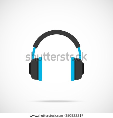 vector headphones icon flat