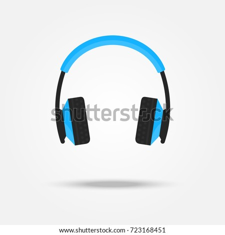 Vector headphones icon. Music device. Contemporary Flat Style