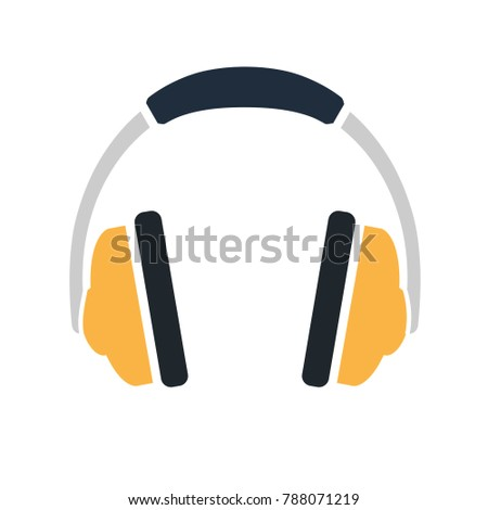 vector headphones icon - sound music illustration