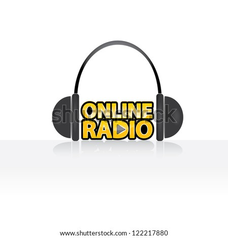 vector headphones on white background. music button. online radio icon