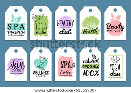 Vector health and beauty care labels. Spa, yoga centers tags. Wellness logos. Hand drawn stickers and elements set for organic cosmetics, natural products.