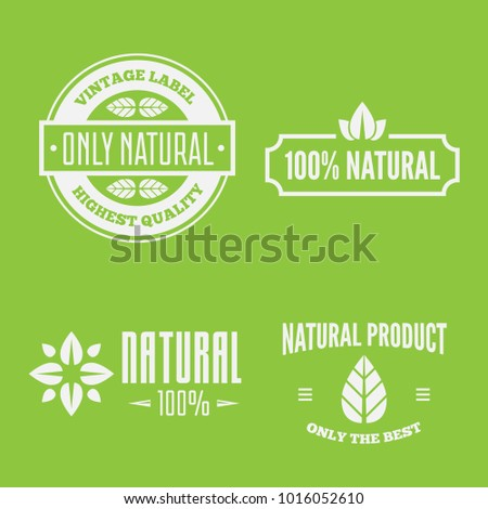 Vector health and beauty care logos or labels. Tags and elements set for organic cosmetics, natural products.