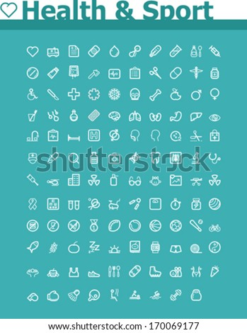 Vector health care and sport icon set