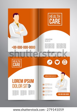 Vector health care brochure for clinic with doctors. Medical flyer design. #279141059