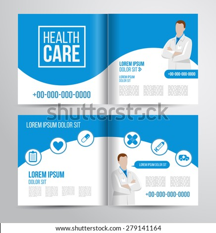 Vector health care brochure for clinic with doctors. Medical flyer design. #279141164