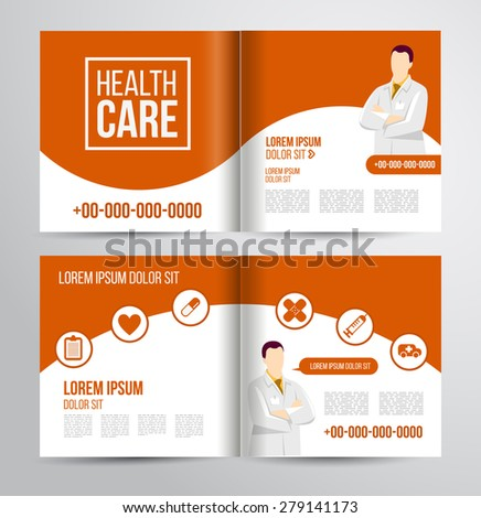 Vector health care brochure for clinic with doctors. Medical flyer design. #279141173
