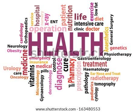 vector health concept tag cloud