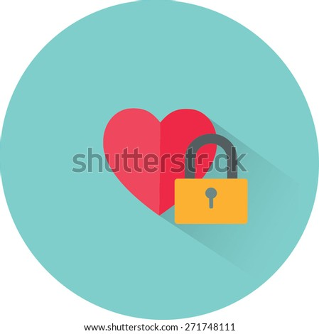 vector heart and lock icon