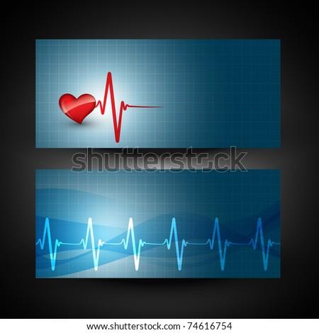 vector heart beat banner
