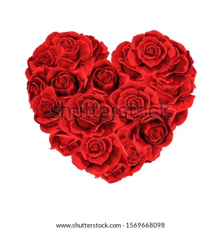 vector heart bouquet of red