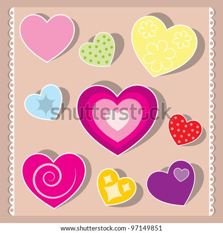vector heart collection - stock vector