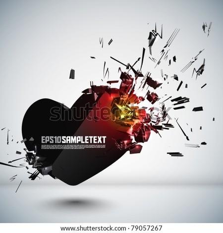 vector heart crushing