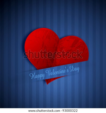 vector heart from paper Valentines day, on a blue striped background