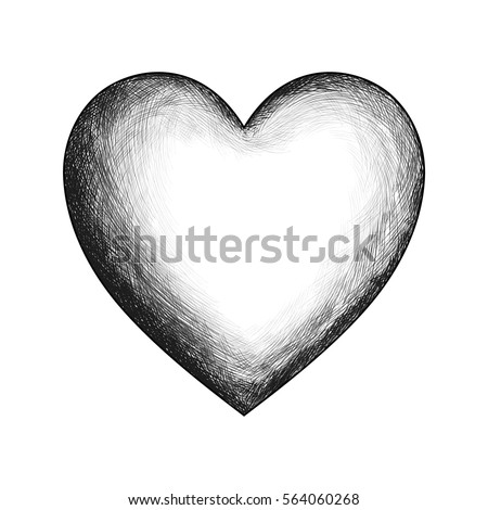 Vector heart hand drawn sketch