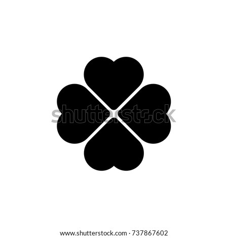 Vector heart icon. Poppy icon. Four Hearts. Heart flower. Clover.
