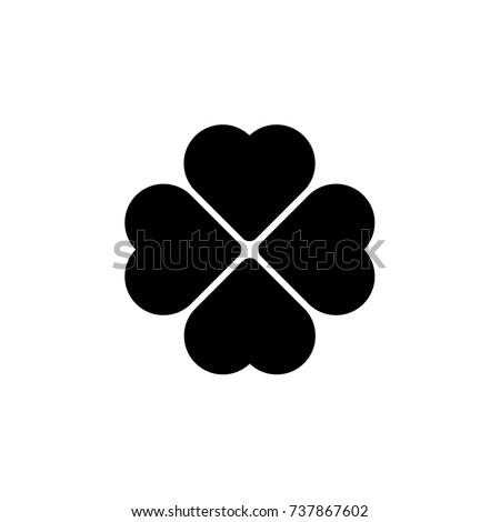 Vector heart icon. Poppy icon. Four Hearts. Heart flower. Clover.