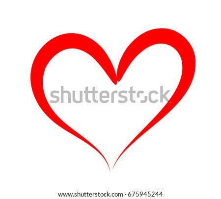 Vector heart icon with red stroke and empty space for text for wedding, Valentine's day card design