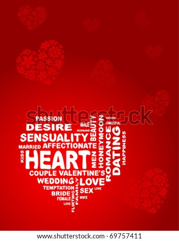 vector heart is made of words