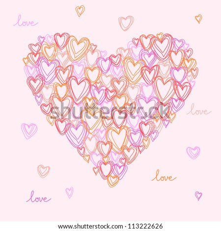 Vector heart made from small hearts of doodles. Pink romantic hand drawn background. Original greeting and invitation card Valentines Day and wedding. Abstract illustration in pencil sketch style.
