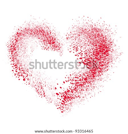 vector heart made of  spray