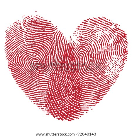 Vector heart man and woman fingerprint valentine icon romantic People graphic design element.