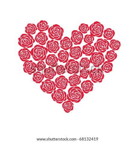 vector heart of red roses