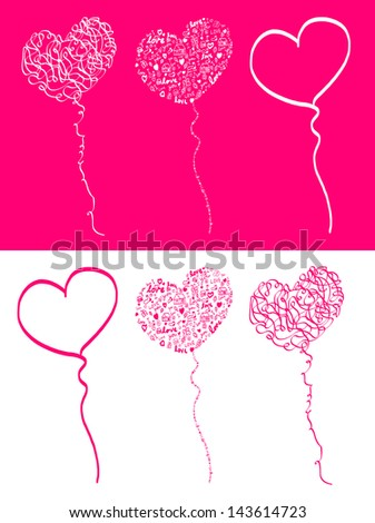 Vector heart shape balloon in tree style.